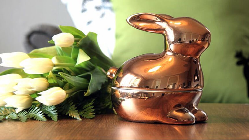 Pluto ceramic gold rabbit pot