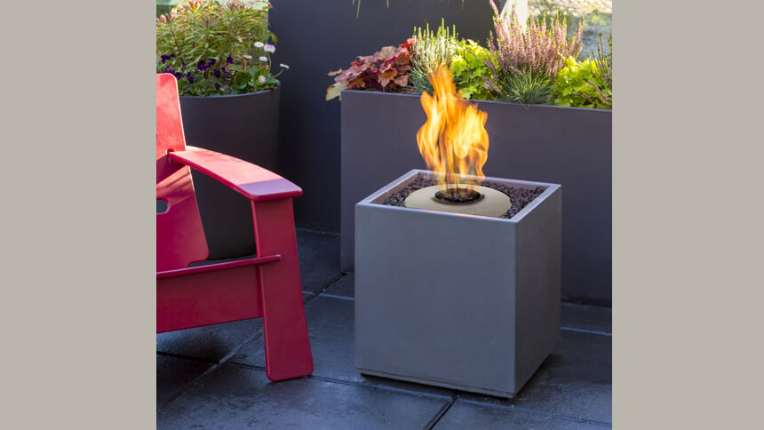Compact Fire Cube complete with ethanol burner