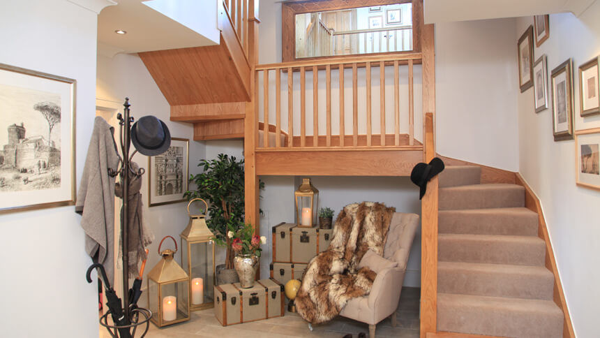 The Harrogate show home entrance hall and stairs