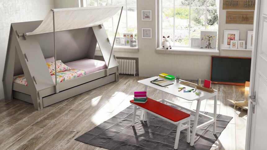 DesResDesign's grey tent bed