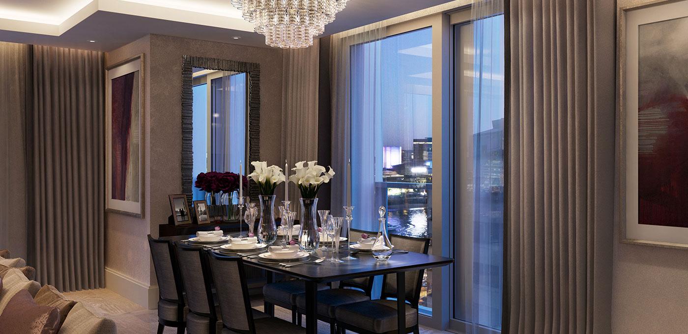 St Edward, 190 Strand, Savoy & Milford House, Dining Area, CGI, Interior