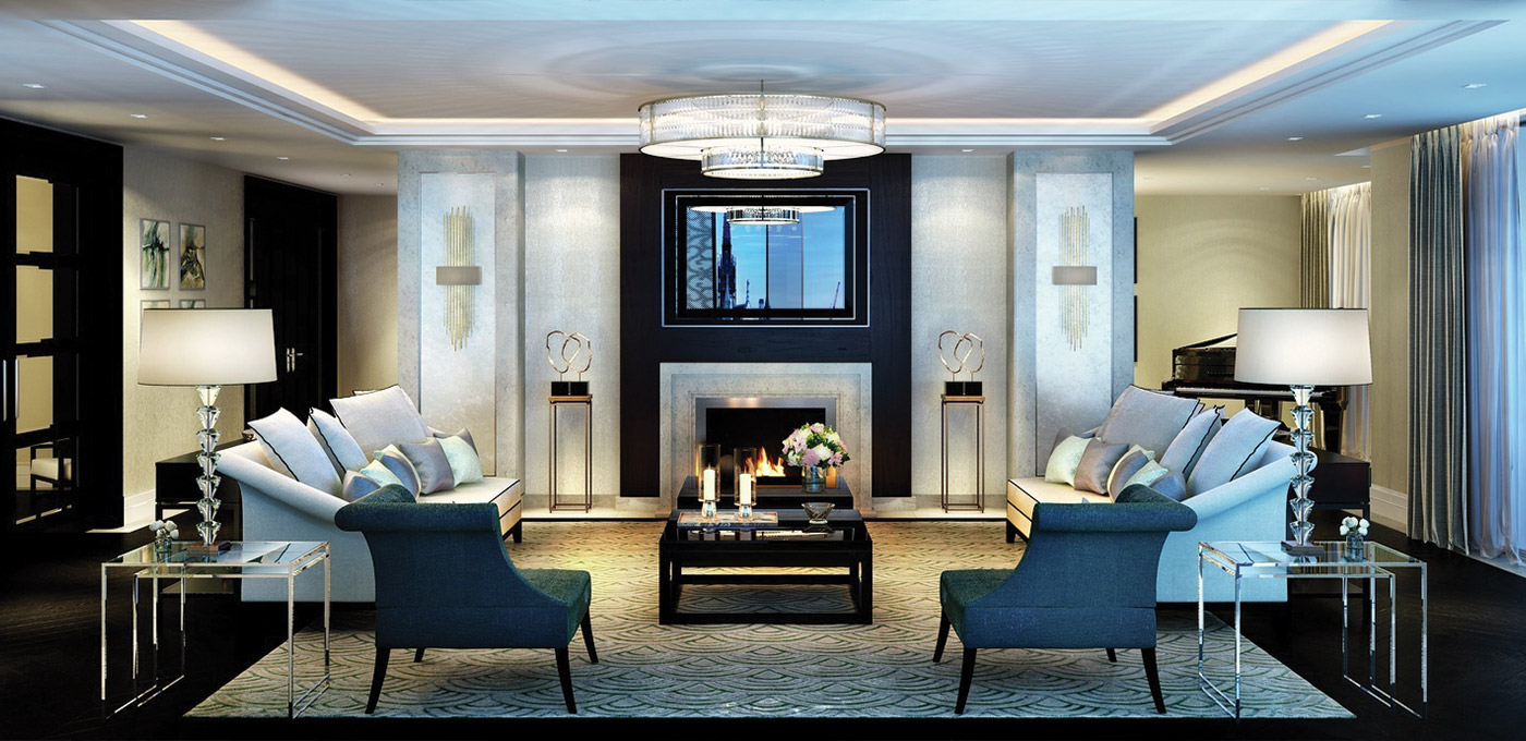 St Edward, 190 Strand, Penthouse Living Area, Fireplace, CGI, Interior
