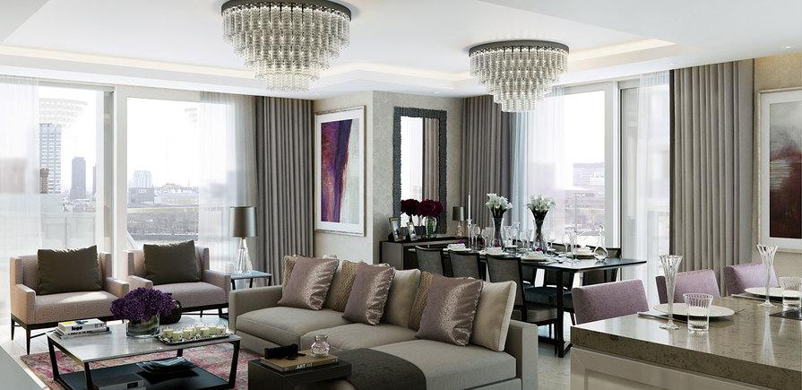 St Edward, 190 Strand, Savoy & Milford House, Living Area, CGI, Interior