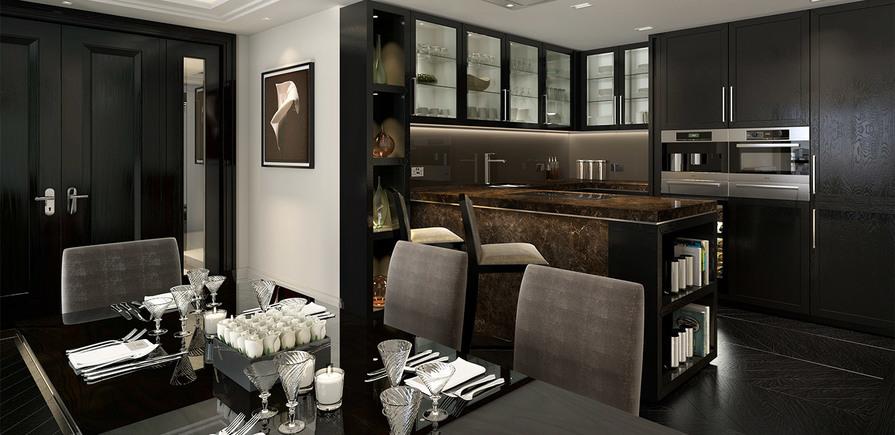St Edward, 190 Strand, Wren, Clement & Gladstone House, Kitchen & Dining Area, CGI, Interior