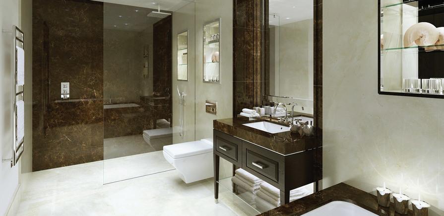 St Edward, 190 Strand, Wren, Clement & Gladstone House, Shower Room, CGI, Interior