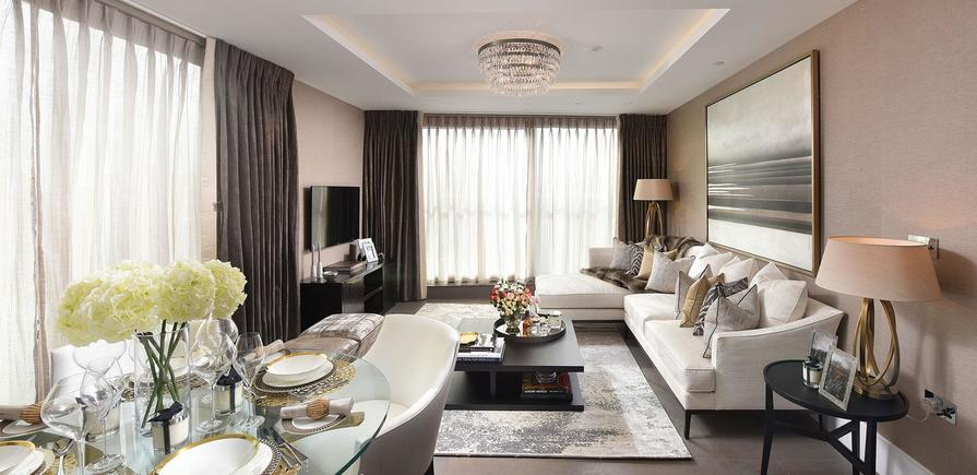 St Edward, 375 Kensington High Street, Benson House, Show apartment, Interior, Living area