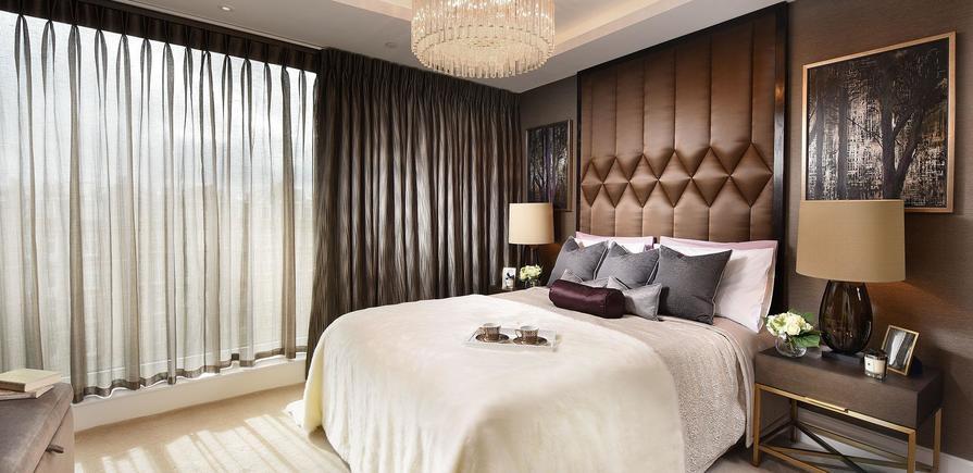 St Edward, 375 Kensington High Street, Benson House, Show apartment, Interior, Master bedroom