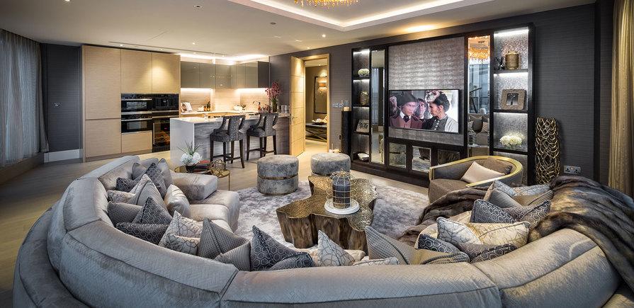 375 Kensington High Street, Benson House, Penthouse Show Apartment, Living Area, Interior, Evening