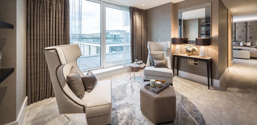 375 Kensington High Street, Benson House, Penthouse Show Apartment, Master Bedroom, Interior