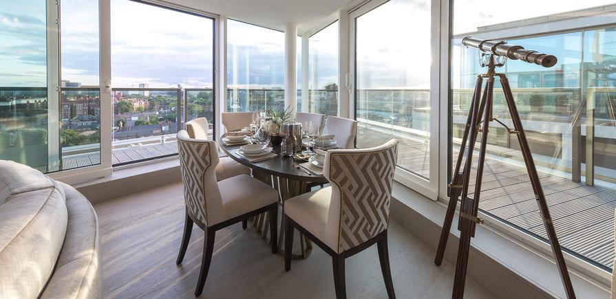 375 Kensington High Street, Benson House, Penthouse Show Apartment, Dining Area, Interior