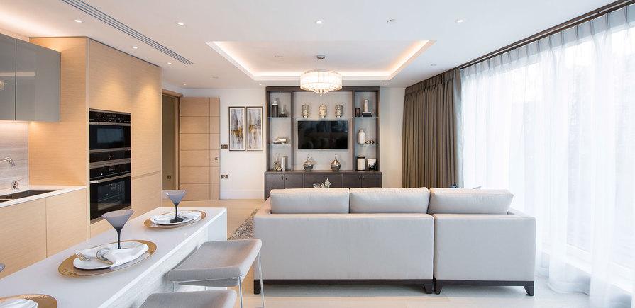 St Edward, 375 Kensington High Street, Benson House Show Apartment, Living Area, Evening, Interior