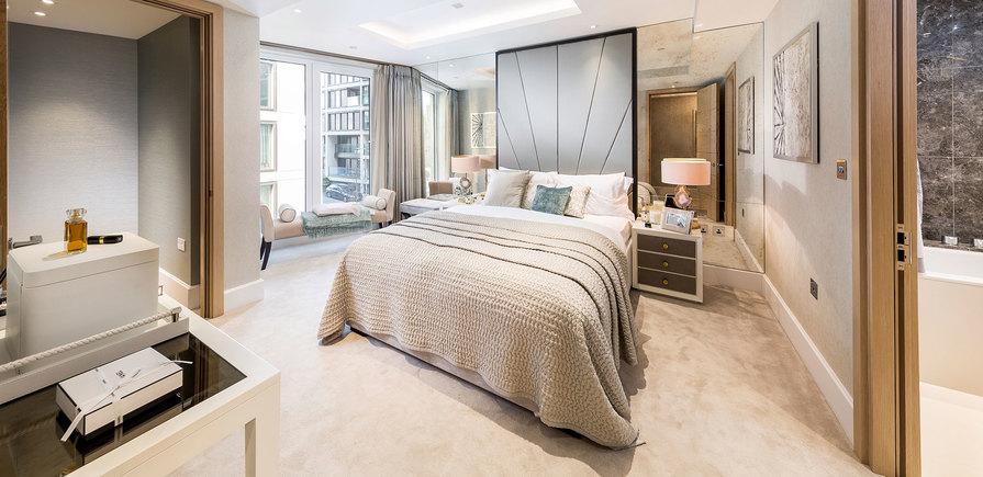 St Edward, 375 Kensington High Street, Benson House Show Apartment, Master Bedroom, Interior