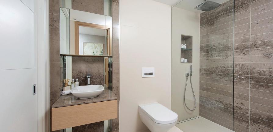 St Edward, 375 Kensington High Street, Benson House Show Apartment, Shower Room, Interior