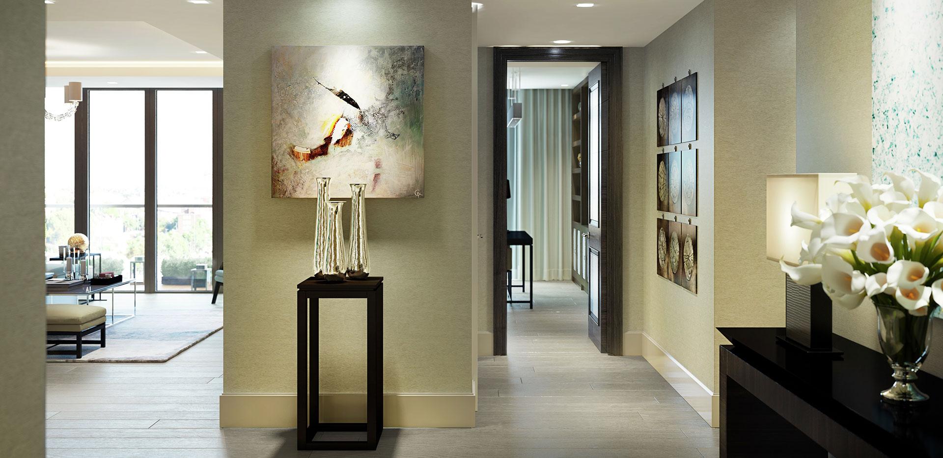 St Edwards, Kensington Row, Mowbray House, Living Room Options CGI