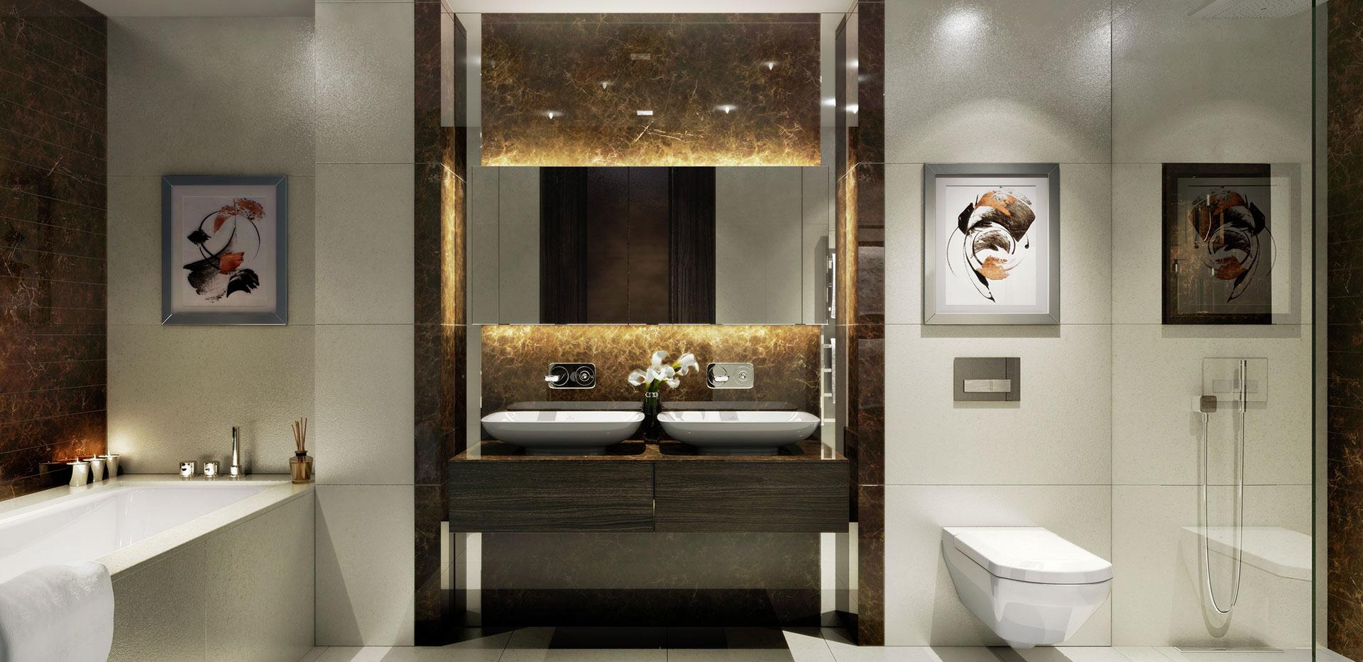 St Edwards, Kensington Row, Mowbray House, Master Bathroom Scheme CGI