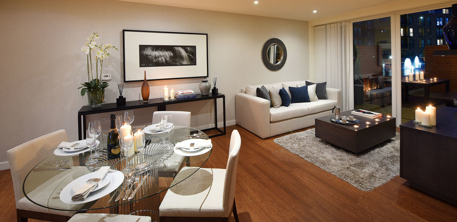 St Edward, Stanmore Place, Royal Crescent Show Apartment Dining Area, Evening, Interior