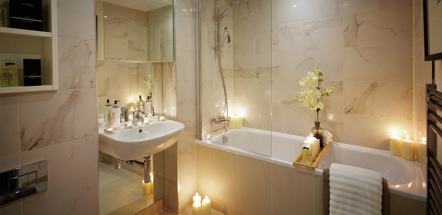 St Edward, Stanmore Place, Royal Crescent Show Apartment En Suite Bathroom, Evening, Interior