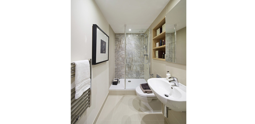 St Edward, Stanmore Place, Royal Crescent Show Apartment, Shower Room, Interior