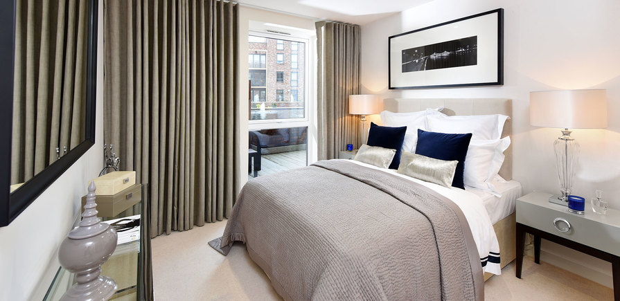 St Edward, Stanmore Place, Royal Crescent Show Apartment, Master Bedroom, Interior