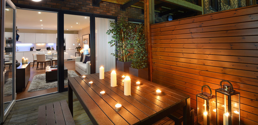 St Edward, Stanmore Place, Royal Crescent Show Apartment, Patio, Evening, Interior