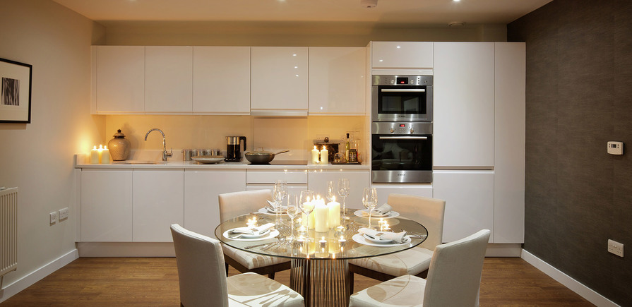 St Edward, Stanmore Place, Royal Crescent Show Apartment Kitchen, Evening, Interior