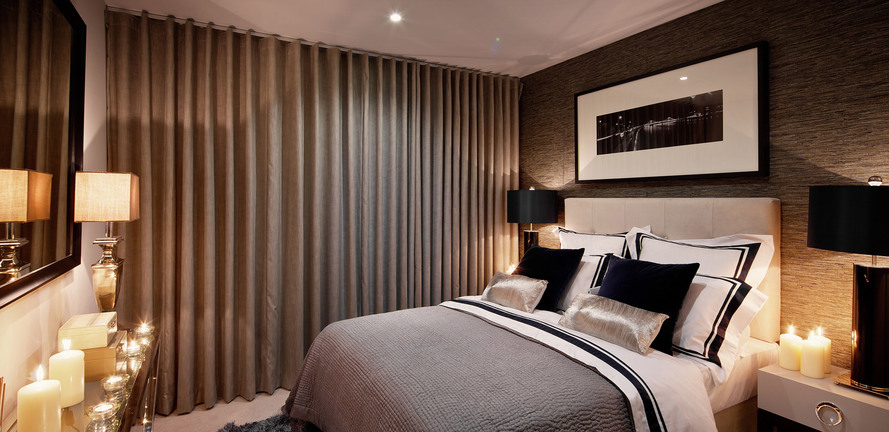 St Edward, Stanmore Place, Royal Crescent Show Apartment Master Bedroom, Evening, Interior