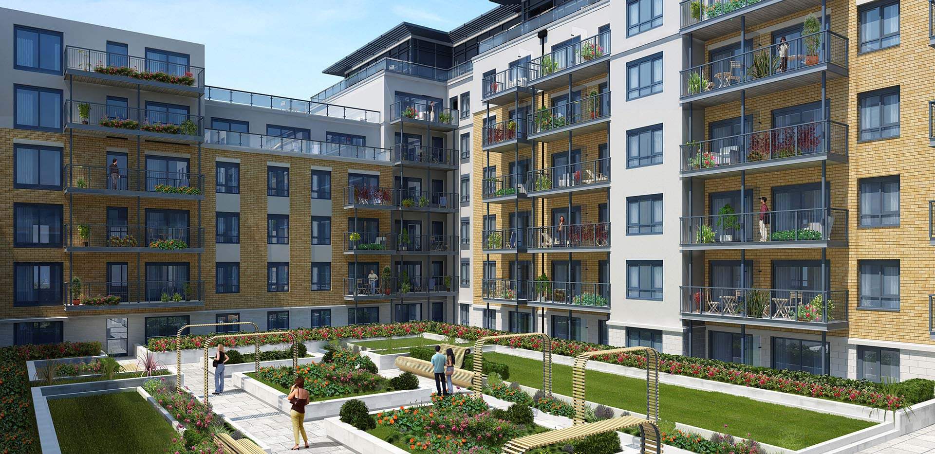 St George, Beaufort Park, Constantine Apartments, Exterior Courtyard