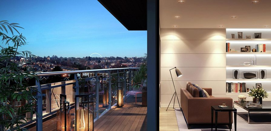 St George, Dickens Yard, View, Living Area & Balcony