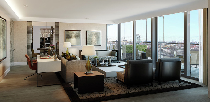 St James, Merano Residences, Lounge, CGI, Interior