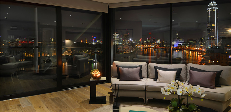 St James, Riverlight, Interior, Living area night view