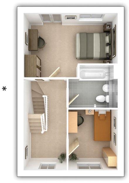 Taylor Wimpey - The Alderton -  3 bedroom first floor plan